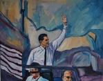 Painting by Nico Verstraete - Reagan - man zwaaiend uit auto
