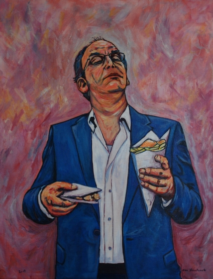 Painting by Nico Verstraete - Paul (met frietzak en saté)