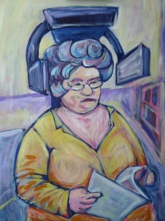 Lady at hairsalon
