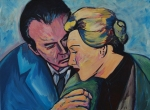Painting by Nico Verstraete - Vertigo (James Stewart & Kim Novak)